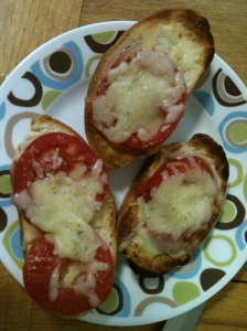 Enjoy...fresh tomatoes and cheese on Italian bread