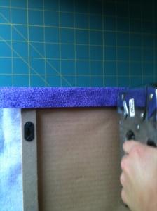 stapling the fabric