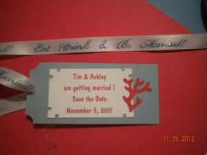 wedding save the date tag