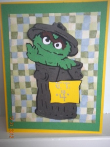 Oscar the Grouch Cricut Birthday card