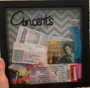 Cricut project ticket stub shadow box