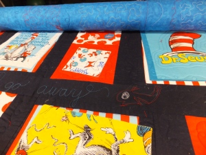 quilting on Dr. Seuss Cat in the Hat quilt
