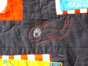 Fish on the Dr. Seuss quilt