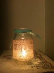 Paris theme mason jar candle holder